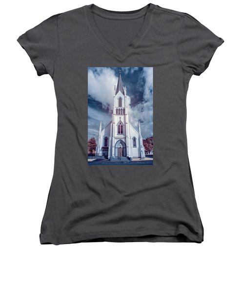 Ferndale Church In Infrared Women's V-Neck T-Shirt (Junior Cut) by Greg Nyquist