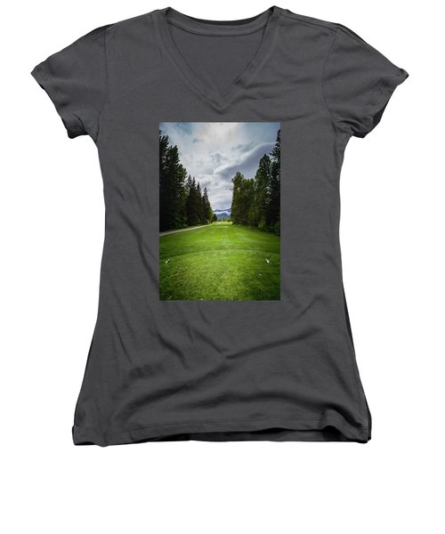 Women's V-Neck T-Shirt (Junior Cut) featuring the photograph Fernie Tee Box by Darcy Michaelchuk