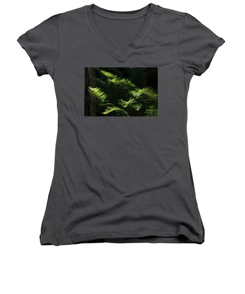 Ferns In The Forest Women's V-Neck T-Shirt (Junior Cut) by Keith Boone