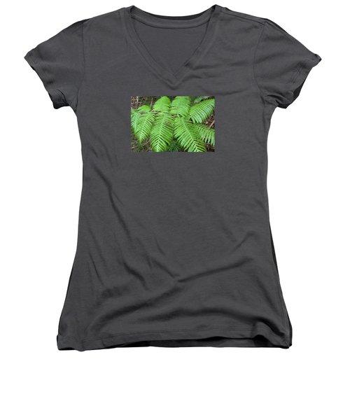 Women's V-Neck T-Shirt (Junior Cut) featuring the photograph Ferns by Karen Nicholson