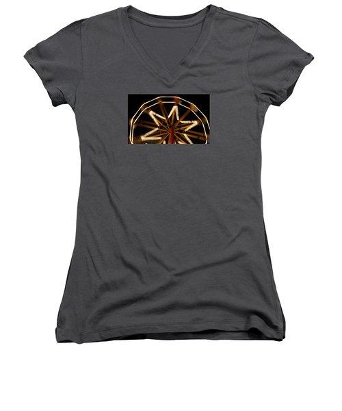 Ferris Wheel At Night Women's V-Neck T-Shirt (Junior Cut) by Helen Northcott
