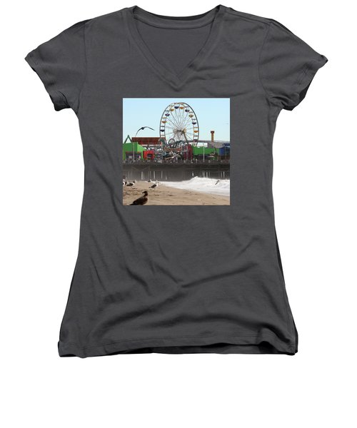 Ferris Wheel At Santa Monica Pier Women's V-Neck (Athletic Fit)
