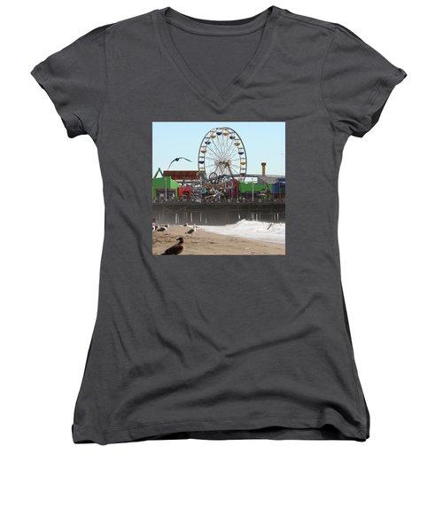 Ferris Wheel At Santa Monica Pier Women's V-Neck