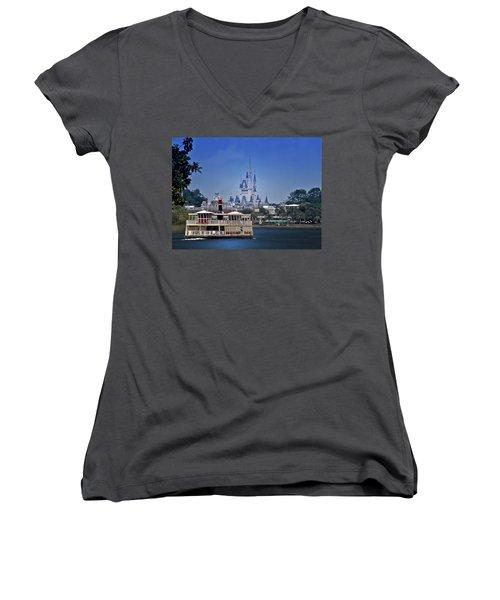 Ferry Boat Magic Kingdom Walt Disney World Mp Women's V-Neck T-Shirt (Junior Cut) by Thomas Woolworth