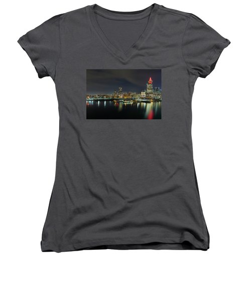 Ferry Terminal In Vancouver Bc At Night Women's V-Neck (Athletic Fit)