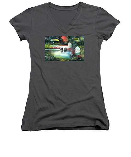 Women's V-Neck T-Shirt (Junior Cut) featuring the painting Festival Of Lights by Anil Nene