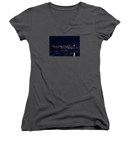 Women's V-Neck T-Shirt (Junior Cut) featuring the photograph Festive Harbor Lights by Margie Avellino