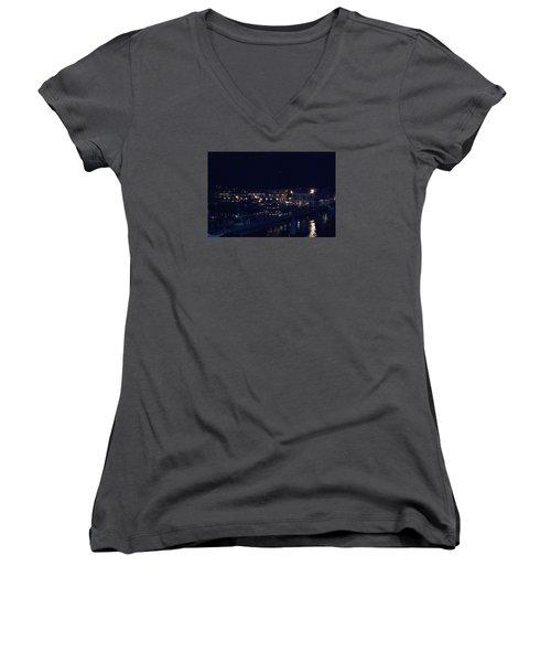 Festive Harbor Lights Women's V-Neck T-Shirt (Junior Cut)