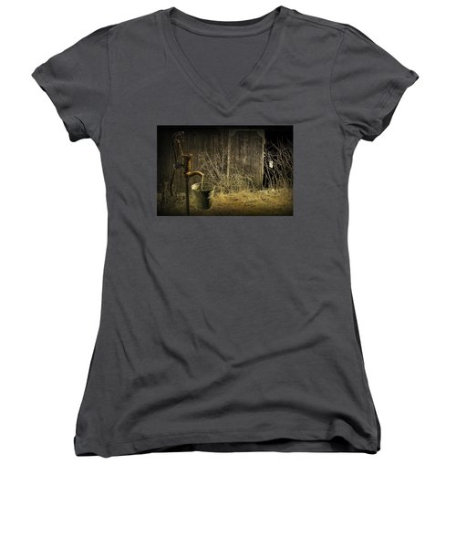 Fetching Water From The Old Pump Women's V-Neck T-Shirt (Junior Cut) by Randall Nyhof