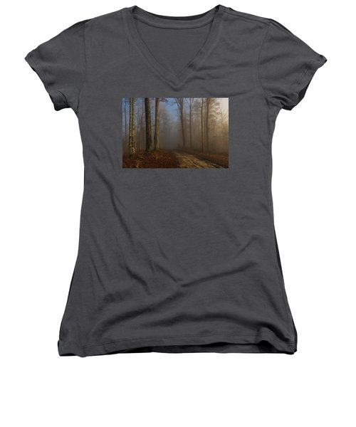 Foggy Morning In The Forest Women's V-Neck (Athletic Fit)