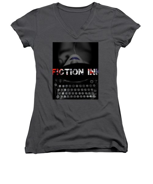 Women's V-Neck T-Shirt (Junior Cut) featuring the digital art Fiction Ink by Nola Lee Kelsey