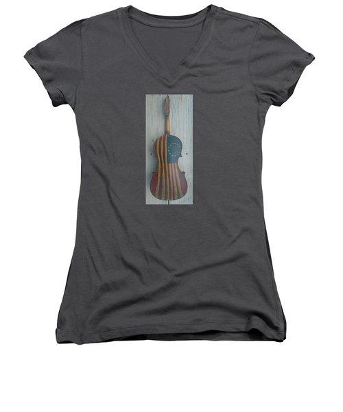 Fiddle Thirteen Star Flag Women's V-Neck T-Shirt (Junior Cut) by Steve  Hester