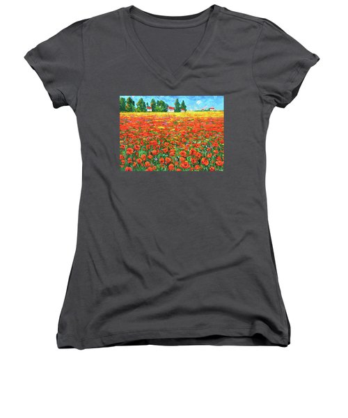 Field And Poppies Women's V-Neck T-Shirt (Junior Cut) by Dmitry Spiros