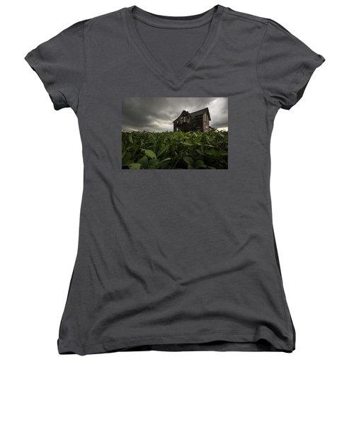 Women's V-Neck T-Shirt (Junior Cut) featuring the photograph Field Of Beans/dreams by Aaron J Groen