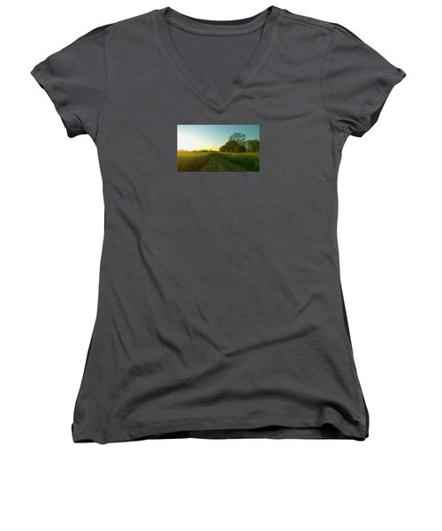 Women's V-Neck T-Shirt featuring the photograph Field Of Gold by Anne Kotan
