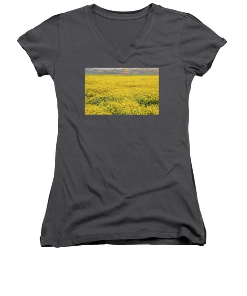 Women's V-Neck T-Shirt (Junior Cut) featuring the photograph Field Of Goldfields by Marc Crumpler