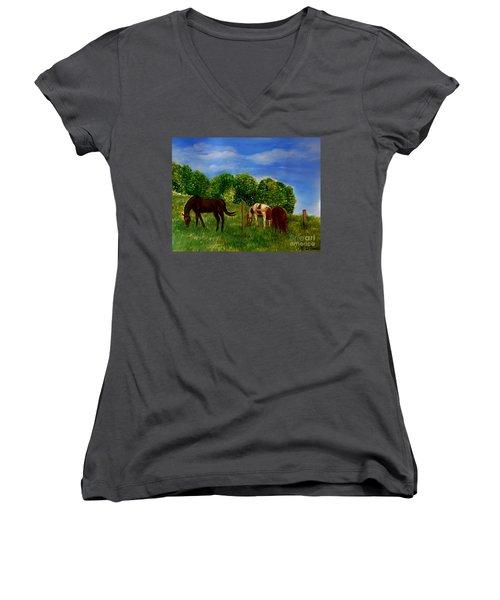 Field Of Horses' Dreams Women's V-Neck T-Shirt