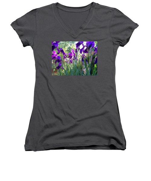 Women's V-Neck T-Shirt (Junior Cut) featuring the digital art Field Of Irises by Barbara S Nickerson
