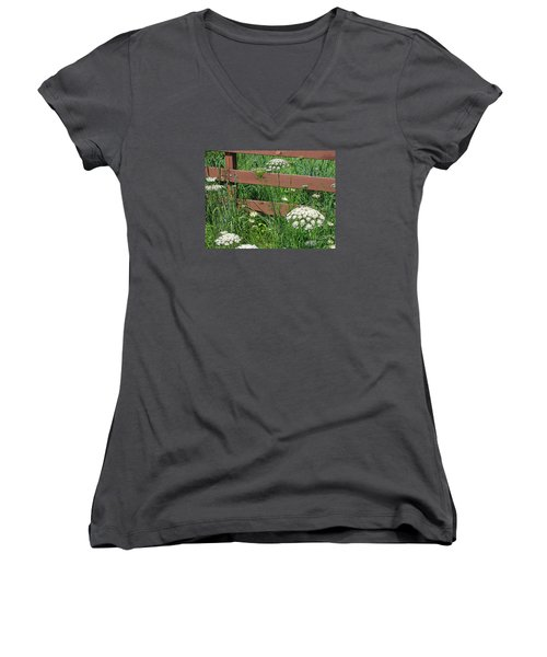 Women's V-Neck T-Shirt (Junior Cut) featuring the photograph Field Of Lace by Ann Horn
