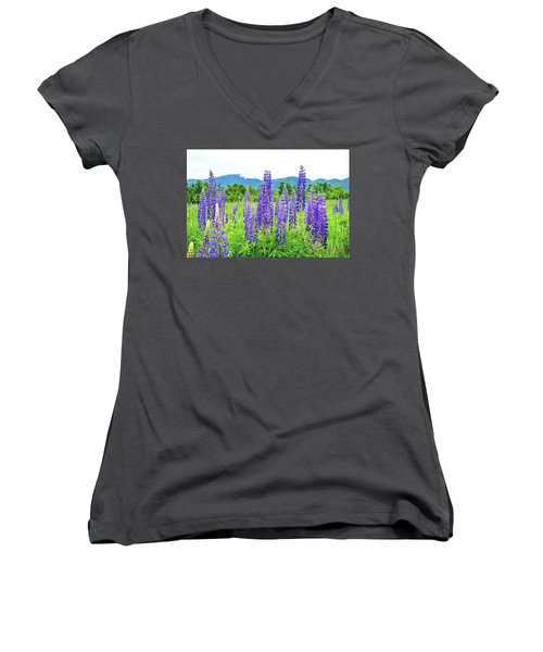Women's V-Neck T-Shirt (Junior Cut) featuring the photograph Field Of Purple by Greg Fortier