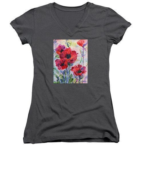 Women's V-Neck T-Shirt (Junior Cut) featuring the painting Field Of Red Poppies Watercolor by AmaS Art