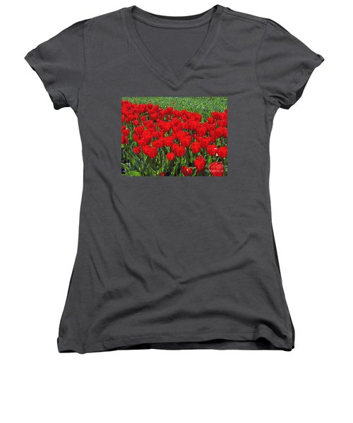 Field Of Red Tulips Women's V-Neck (Athletic Fit)