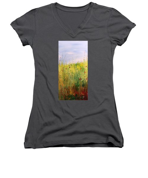 Field Of Wild Flowers Women's V-Neck T-Shirt