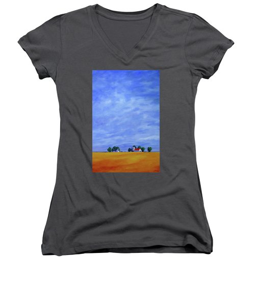 Women's V-Neck T-Shirt (Junior Cut) featuring the painting Fields Of Gold by Jo Appleby