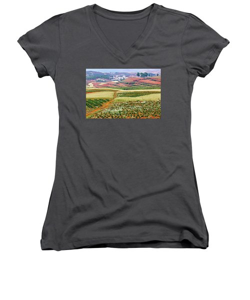Fields Of The Redlands-1 Women's V-Neck (Athletic Fit)