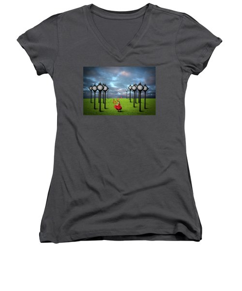 Fields Of Time Women's V-Neck T-Shirt (Junior Cut) by Nathan Wright