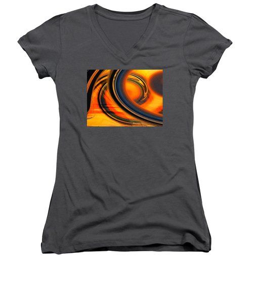Women's V-Neck T-Shirt (Junior Cut) featuring the photograph Fiery Celestial Rings  by Shawna Rowe