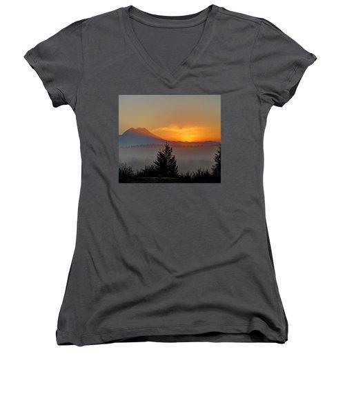 Women's V-Neck T-Shirt (Junior Cut) featuring the photograph Fiery Fall Sunrise by Peter Mooyman