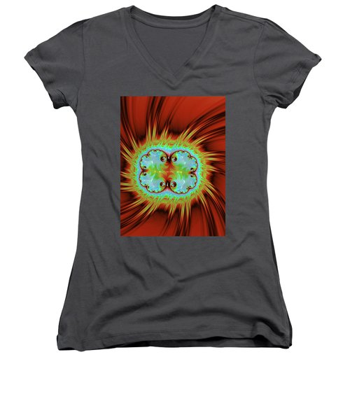 Fiery Glow Women's V-Neck T-Shirt (Junior Cut) by Rajiv Chopra