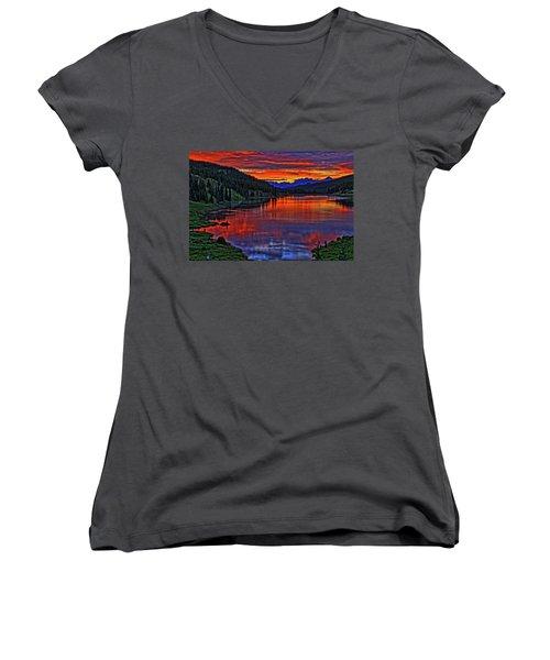 Women's V-Neck T-Shirt (Junior Cut) featuring the photograph Fiery Lake by Scott Mahon