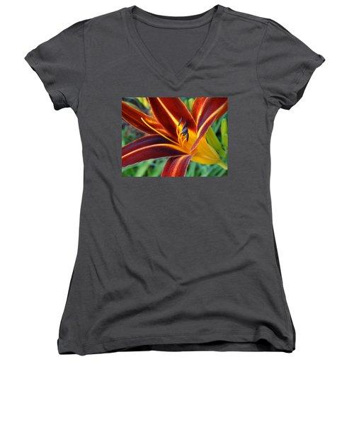 Fiery Lilies In Bloom Women's V-Neck T-Shirt (Junior Cut) by Rebecca Overton