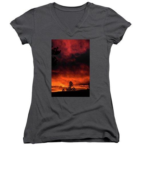 Fiery Sky Women's V-Neck T-Shirt (Junior Cut) by Jason Coward