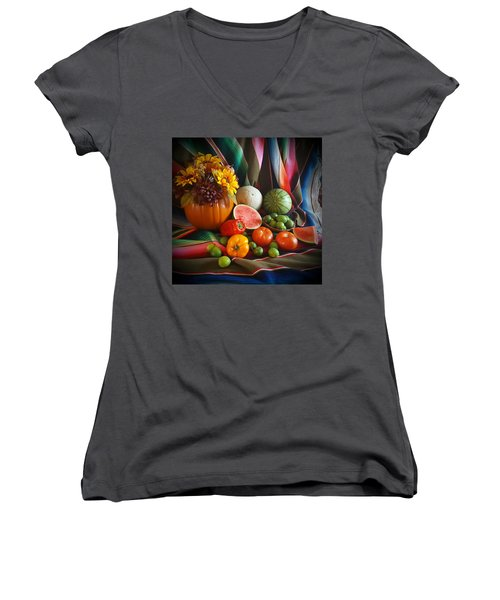 Women's V-Neck T-Shirt (Junior Cut) featuring the painting Fiesta Fall Harvest by Marilyn Smith