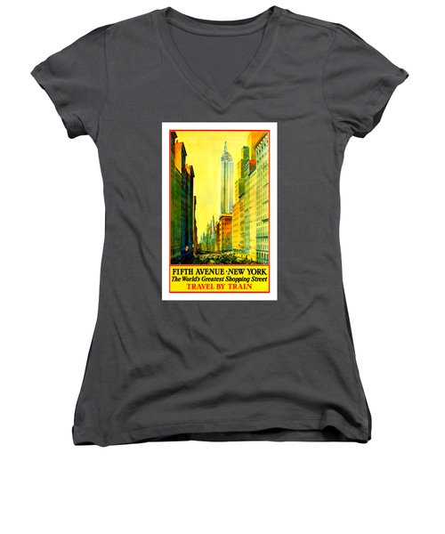 Fifth Avenue New York Travel By Train 1932 Frederick Mizen Women's V-Neck T-Shirt (Junior Cut) by Peter Gumaer Ogden Collection
