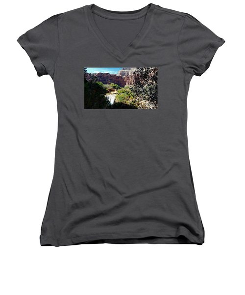 Fifty Falls And Havasupai Falls Havasupai Indian Reservation Women's V-Neck T-Shirt
