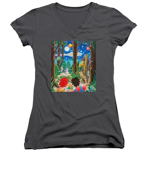 Women's V-Neck T-Shirt (Junior Cut) featuring the drawing Fighting Orcs And Giant Spiders by Matt Konar