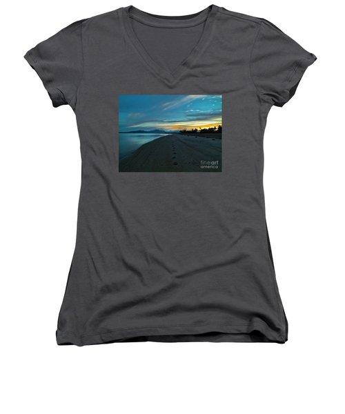 Fiji Dawn Women's V-Neck T-Shirt (Junior Cut) by Karen Lewis