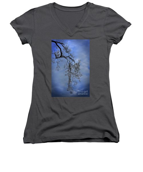 Women's V-Neck T-Shirt (Junior Cut) featuring the photograph Filigree From On High by Skip Willits