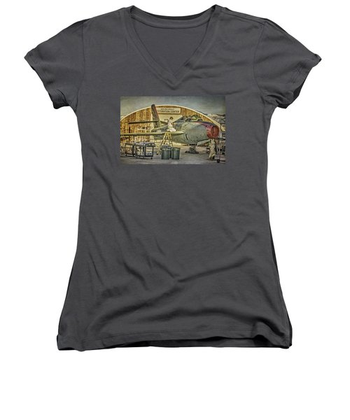 F-84f Thunderstreak Final Touches  Women's V-Neck