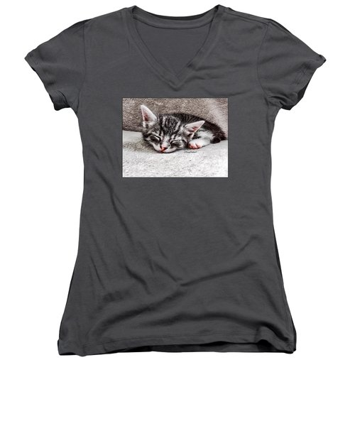 Finally Asleep  Copyright Mary Lee Parker 17  Women's V-Neck T-Shirt (Junior Cut) by MaryLee Parker