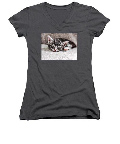 Finally Asleep  Copyright Mary Lee Parker 17  Women's V-Neck T-Shirt