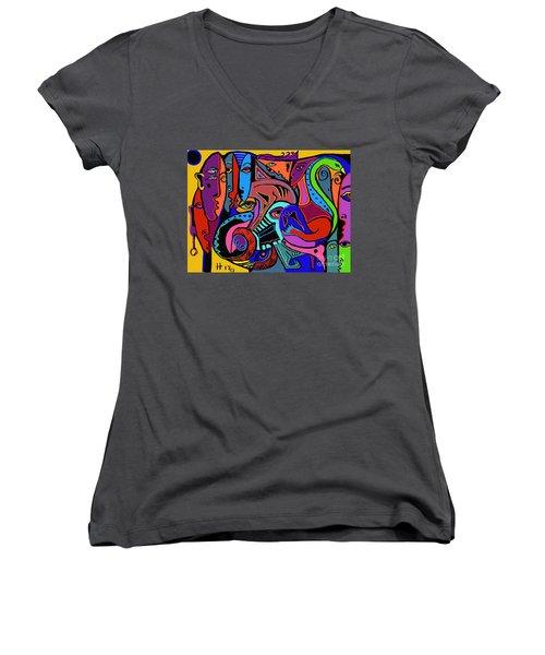 Find The Hog Women's V-Neck T-Shirt (Junior Cut) by Hans Magden