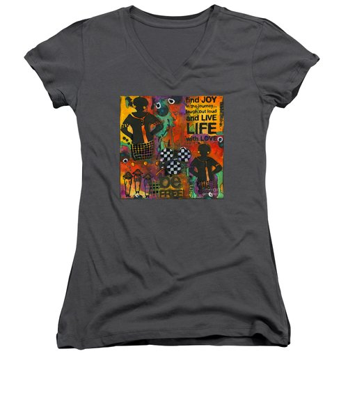 Finding Joy In My Journey Women's V-Neck T-Shirt (Junior Cut) by Angela L Walker