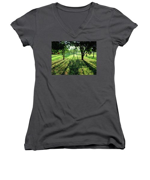 Women's V-Neck T-Shirt (Junior Cut) featuring the photograph Fine Shadows by Beto Machado