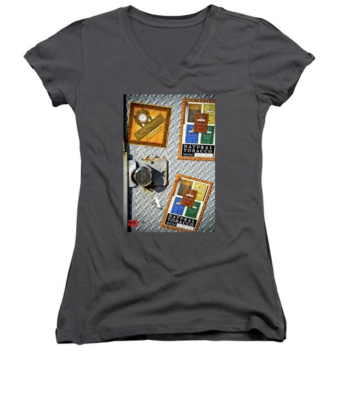 Fine Smokes Women's V-Neck T-Shirt (Junior Cut) by Rennie RenWah