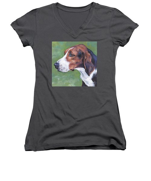 Women's V-Neck T-Shirt (Junior Cut) featuring the painting Finnish Hound by Lee Ann Shepard